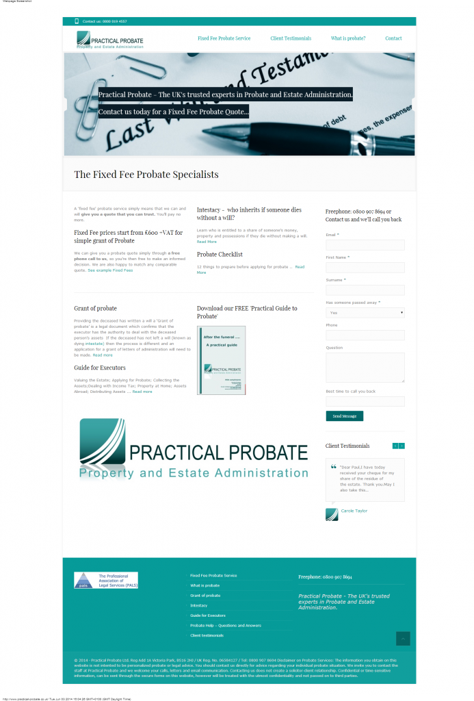 Web site design Practical Probate