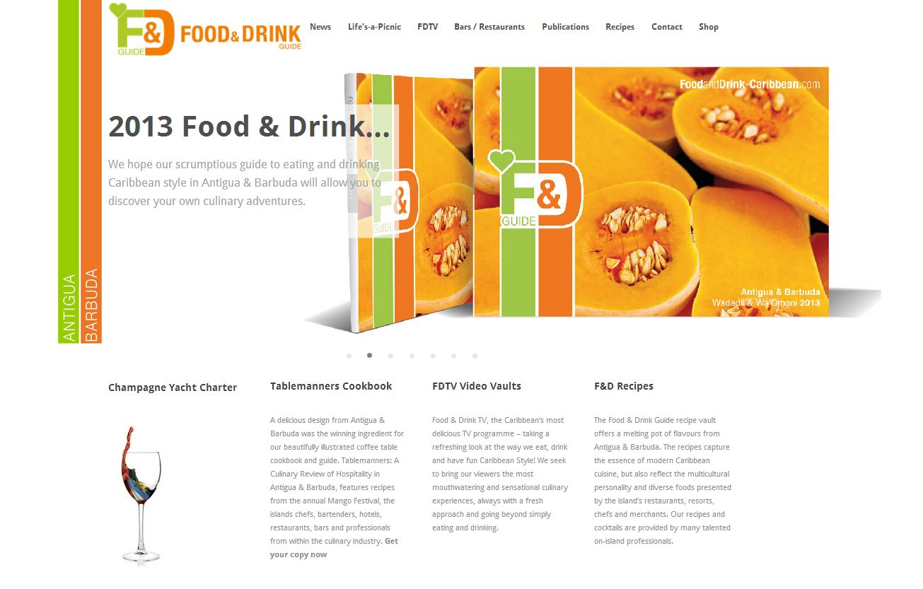 New website design -Food and Drink Antigua